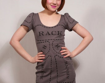 Charcoal Grey Cuts of Meat Dress MADE TO ORDER