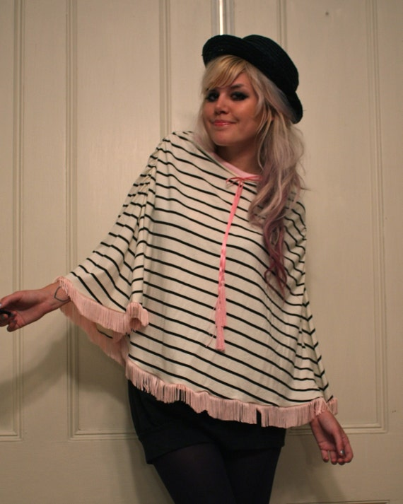 Black and Cream Striped Poncho