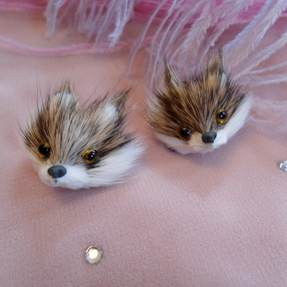 Brown Fox Head Earrings