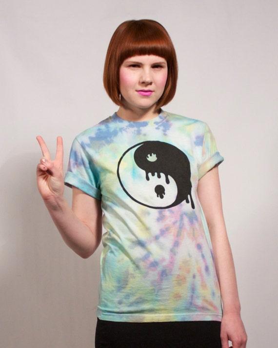 Hand Tie Dyed Yin Yang T Shirt M