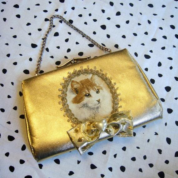 Gold Kitty Small Purse