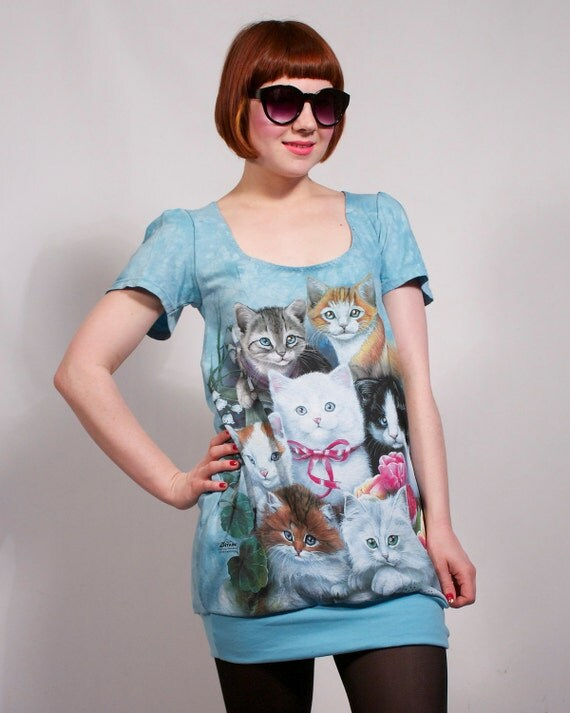 Blue Crazy Cat Lady Dress