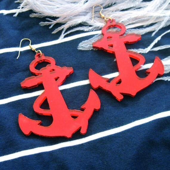 Red Acrylic Anchor Earrings
