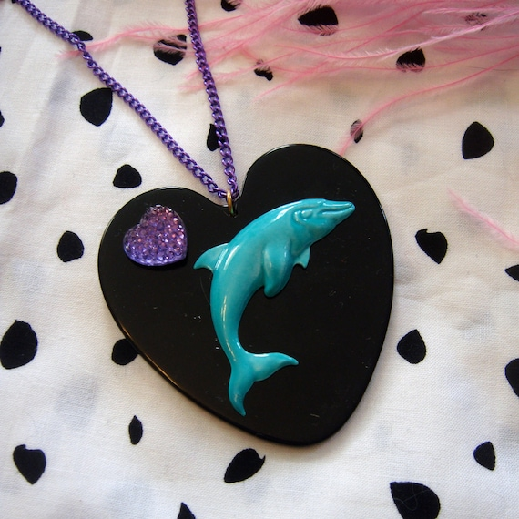 Teal and Black Dolphin Heart Necklace