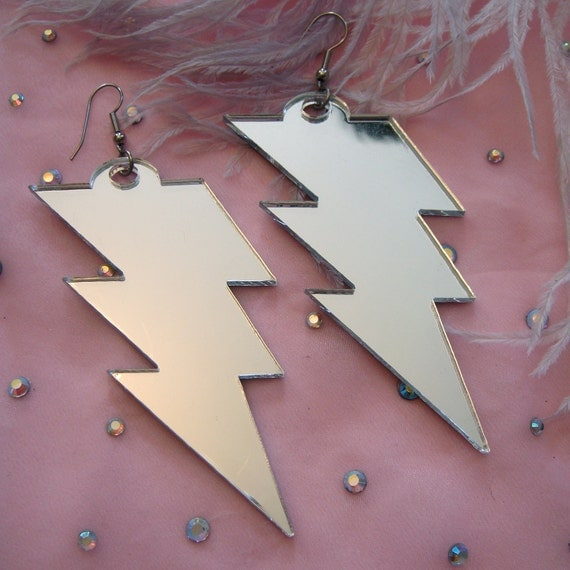 Silver Acrylic LIGHTNING BOLT Earrings