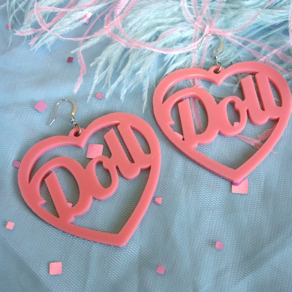 Candy Pink Acrylic DOLLY Earrings