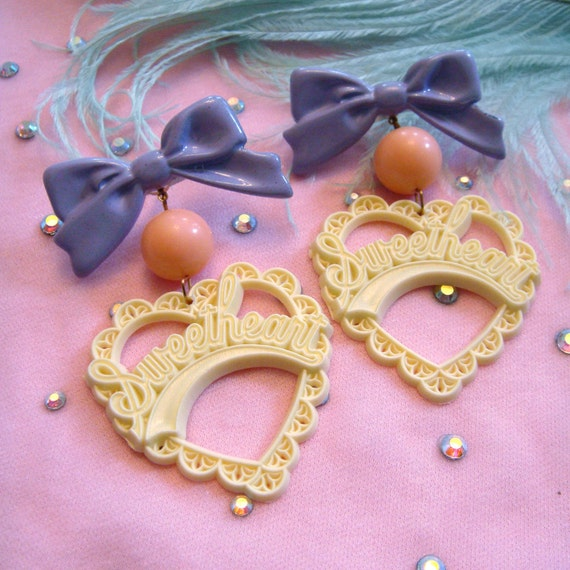 Creme and Lilac Sweetheart Earrings