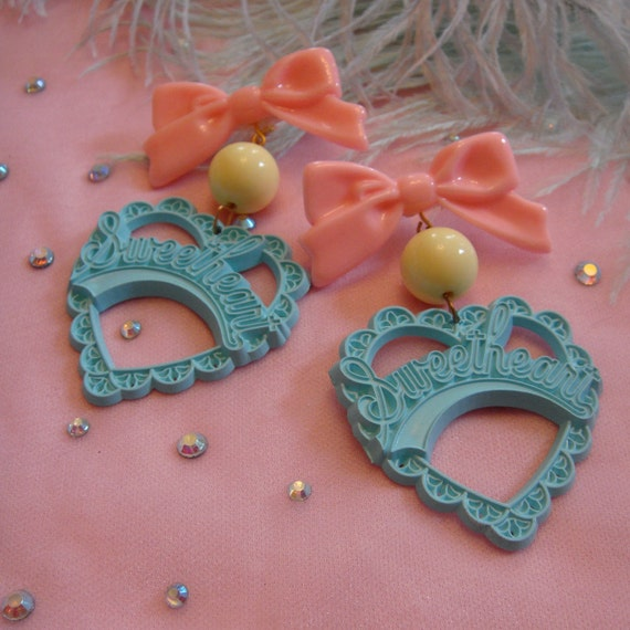 Teal and Light Pink Sweetheart Earrings