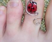 Lady Bug Toe Ring