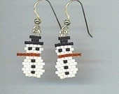 Brick Stitched Delica Bead Earrings Snowmen