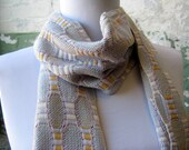 Light Gray Cream Handwoven Bamboo Scarf - MADE TO ORDER