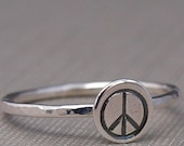 Peace Sign Ring , Peace Ring , Peace Sign Jewelry , Sterling Silver RIng