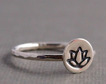 Lotus Ring , Sterling Silver Ring , Lotus Flower Jewelry , Yoga Jewelry