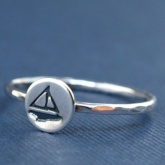Nautical Jewelry , Little Sterling Silver Sailboat Ring , Boat Ring