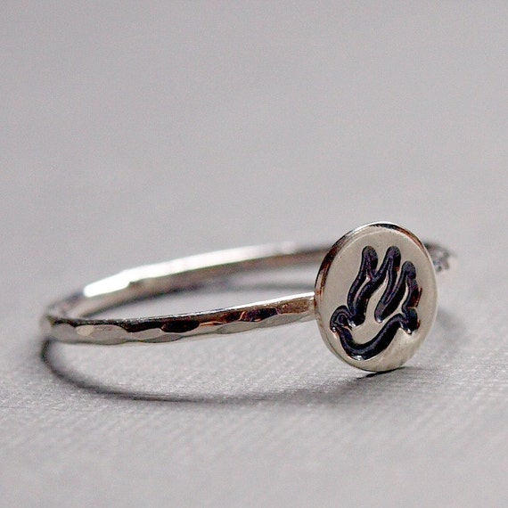 Sterling Silver Stamped Dove Ring , Sterling Silver Ring