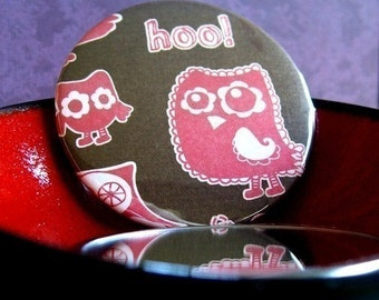 Hoo Are You, Hoot Hoot, An Owl Pocket Mirror, Handheld Mirror, Accessory,  Woodland, Purse Mirror, Small Mirror, Bird, Pink Owl, Makeup Tool
