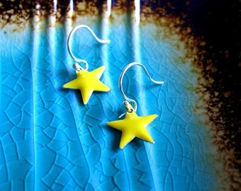 Yellow Star Earrings, Womens Jewelry, Girls Jewelry, Small Earrings, Dangle Earrings, Star Jewelry, Yellow Jewelry
