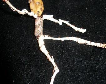 Pin Brooch - Real Bone Skeleton  BD Ofrenda Art Doll  Halloween24/7, SpookyCute, etsyBead, OlympiaEtsy,  paganteam, WWWG GeekyFreakyUnique-y