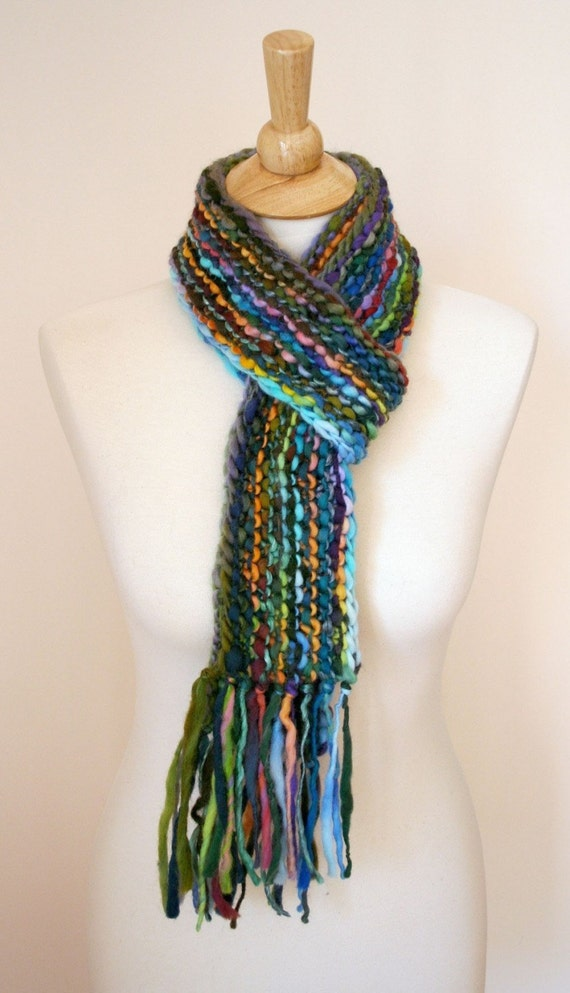 Knit Scarf Pattern With Bulky Yarn : Handspun Super Bulky Scarf Knitting Pattern PDF PATTERN ONLY