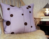 18 x 18 Pillow  - Lavender Linen with Brown Branch - Chocolate Back