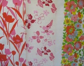 Vintage wallpaper \/\/ Large red and pink tulips \/\/ Pink and red floral \/\/ Floral stripe (3 pieces)