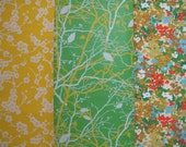 Vintage Wallpaper \/\/ Sunshine Cherry Blossoms \/\/ Grass Green Branch \/\/ Ink Blot Floral (3 pieces)