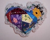 Crazy Quilted Heart Pillow Small