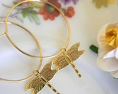 Tiny dragonfly hoop earrings
