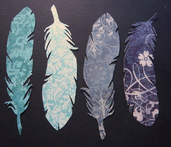 SINGLE Feather Bookmarks: Cool Colors