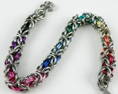 Chainmaille Bracelet - Rainbows on Stainless Steel Byzantine Bracelet