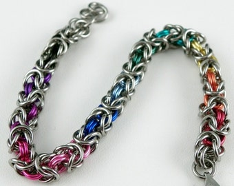 Chainmaille Bracelet - Rainbows on Stainless Steel Byzantine Bracelet