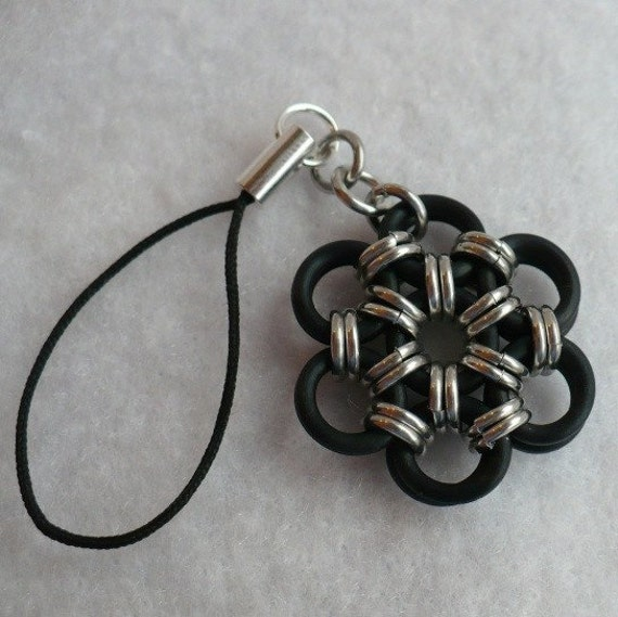 Black Flower Cell Phone Charm