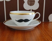 Moustache Tea Cup and Saucer - Reserved for Ishibean