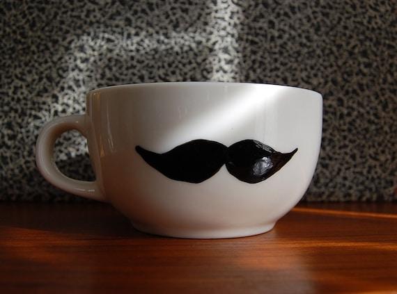 Large White Moustache Cup