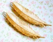 Feather Barrettes, Golden feather Barrettes, Feather Hair accessory