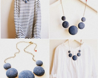 Denim Necklace, jeans necklace, blue necklace, upcycled necklace