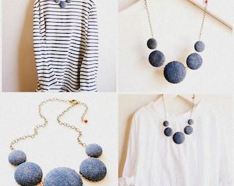 Denim Necklace, jeans necklace, blue necklace, upcycled necklace