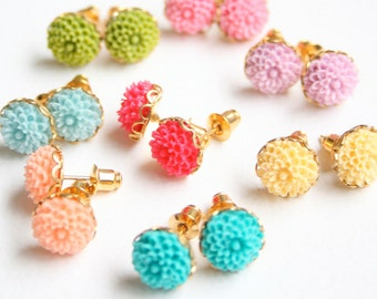 Mini Flower Ear Studs - Choose your color