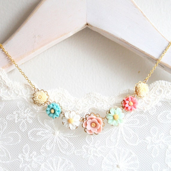 Zoe Flower Charm Necklace 14K Gold filled or sterling Silver Chain