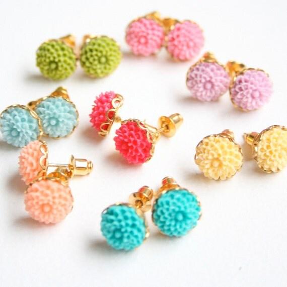 Mini Flower Ear Studs - Choose your color