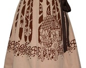 fairytale forest skirt - hansel and gretel - deep dark woods hand screen print with storybook figures