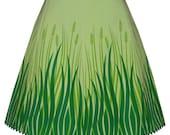 meadow skirt - green - swaying grass hand screen print