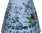 dutch treat skirt - blue & navy - cute print with windmills, tulips and clogs, a-line skirt