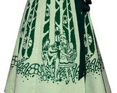 fairytale forest skirt - red riding hood - deep dark woods hand screen print with storybook figures