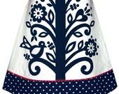 beanstalk skirt - navy blue - folk flower vine print with polka dot hem