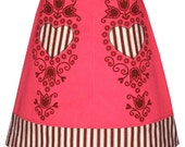 shortcake skirt - cute alpine folk art inspired hand screen print with striped heart appliques