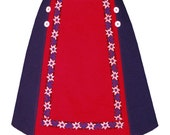 chalet skirt - color block with vintage edelweiss and heart trim