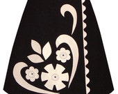 honeycake skirt - black - graphic appliques and giant buttons