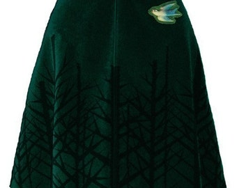 winter woods skirt - pine green - bare trees hand screen printed velveteen with blue bird brooch