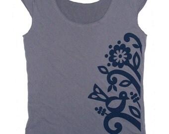 beanstalk tee - slate grey and navy - folk flower vine and bird print